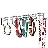 mDesign-Soporte-para-bisutera–Colgador-de-pared-para-pendientes-gafas-de-sol-collares-y-dems-accesorios–Con-12-ganchos-para-pared–Color-cromado