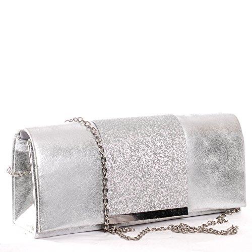 Gadzo® Abendtasche clutch glitzer glitzer clutches glitzer clutch tasche CLUMG silber 09