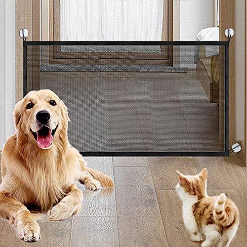 laamei Barrera de Seguridad para Mascotas, Magic Gate Puertas de Seguridad para Niños Perros Valla Seguridad Infantil Plegable Rejilla de Separación para Instalar en Escaleras Puertas, 115cmx72cm