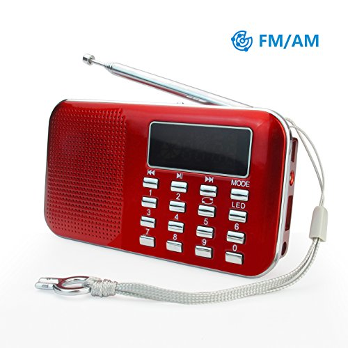 PRUNUS L-218AM-RED FM AM Radio mit Micro TF Card USB MP3, Rot, Red