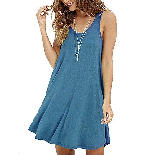 ohne Ärmel Weste Rock Damen einfach solide Farbe lässig T-Shirt O-Ausschnitt Rock locker trägerlos Minikleid URIBAKY