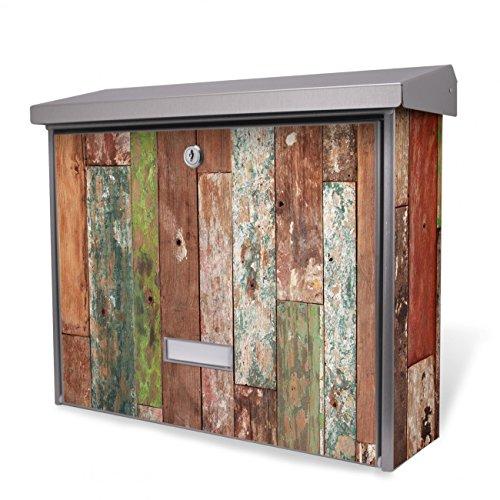 BURG WÄCHTER Edelstahl Briefkasten, Motivbriefkasten Modell Secu Line 31,5  X 38,5 X 11,5cm, Design Briefkasten Mit Motiv Buntes Holz