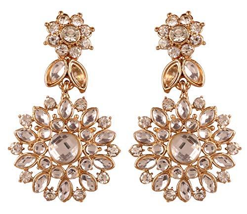 Touchstone Damen-Ohrringe Kundan Collection indisches Bollywood Mughal inspiriert Kundan Polki Look Strass Designer Schmuck Lange Ohrringe Goldton für Frauen (Designer-inspirierte Ohrringe)