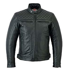 Texpeed Armoured Black Leather Diamond Stitched Motorcycle//Motorbike Jacket Sizes M to 7XL