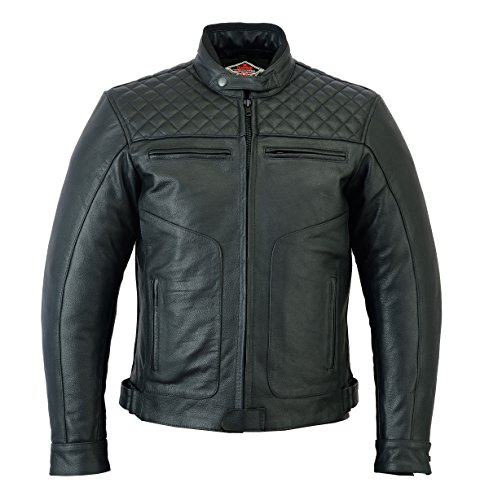 Texpeed Diamond Black Stitched Leather Jacket - M