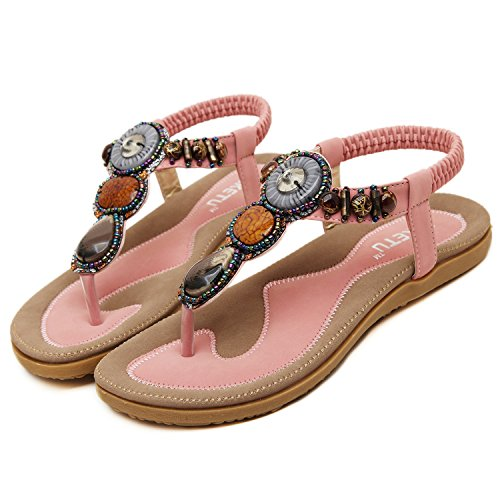 Oasap Boho Rhinestones Embellishment Y-Strap Thong Sandals For Women Rosa
