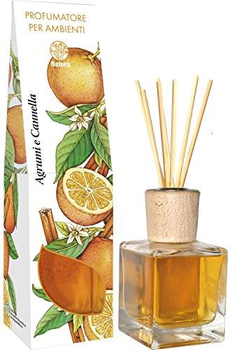 PROFUMO PER AMBIENTI con bastoncini diffusori d'aroma - AGRUMI E CANNELLA - 200 ml
