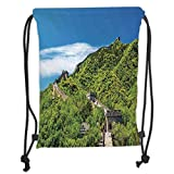 Drawstring Backpacks Bags,Great Wall of China,Old Chinese Asian Building Area Panorama in Nature Exotic Scene,Turquoise Green Soft Satin,5 Liter Capacity,Adjustable String Closure,
