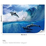 FORWALL DekoShop Vlies Fototapete Tapete Vliestapete Delphine Springen Auf Wellen DK188VEL (152,5 x 104cm) Photo Wallpaper Mural