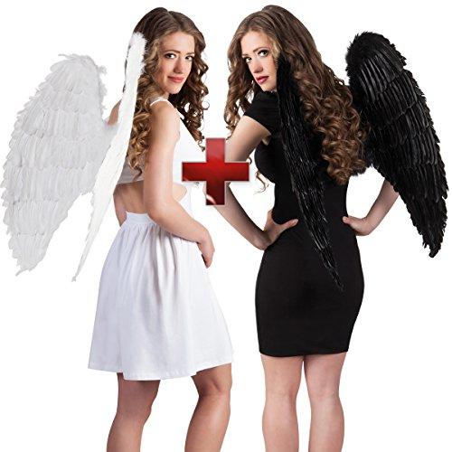 Kostüm Doppelpack Guter Engel / Böser Engel - Engelsflügel Flügel Halloween Karneval Weiss Schwarz