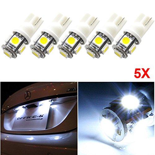 Rokoo 5pcs KFZ-Kennzeichen-Licht LED-Birne T10 158 161 168 194 2825 3652 W5W Lampen