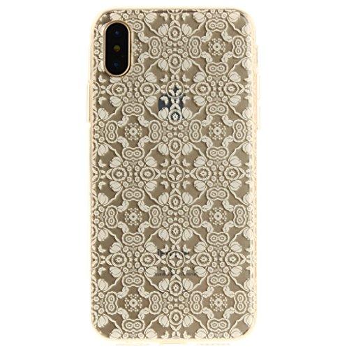 """Coque pour Apple iPhone X , IJIA Transparent Coloré Gradient Fleurs TPU Doux Silicone Bumper Case Cover Shell Protection Housse Etui pour Apple iPhone X (5.8"""") TX40"""