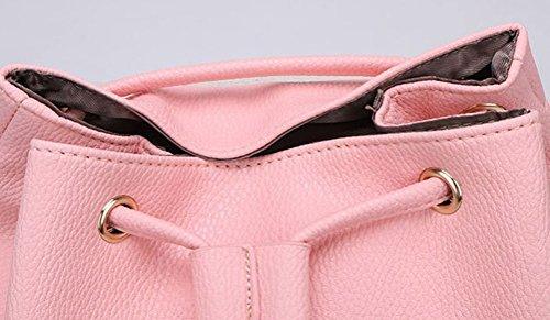 Bonamana Frauen weicher PU-lederner Rucksack Schöne nette Schultasche Schultertasche (Pink) Pink