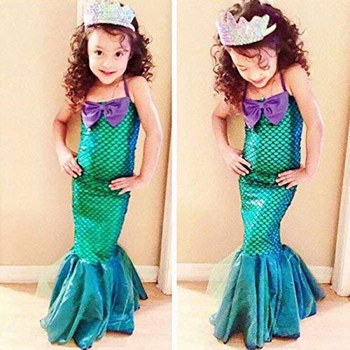 lzndeal Mode Sommer Mädchen Prinzessin Kleider Meerjungfrau-Linie Kinder Ariel Kleine Meerjungfrau Kleid Halloween Party Cosplay Kostüm - Mehrfarbig, Large (Ariel Meerjungfrau Halloween-kostüme)