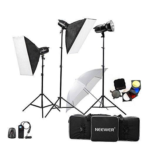 Neewer® 750W (250W x 3) Professionelle Fotografie Studioblitz Stroboskop Licht Beleuchtung-Installationssatz für die Portraitfotografie, Studio und Video Shoots (EG-250B)