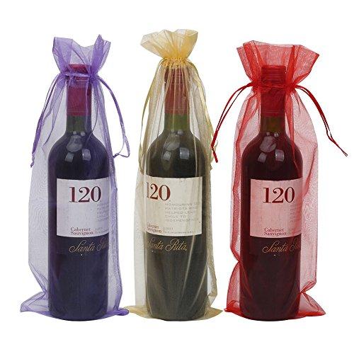 30 bolsas de regalo de organza para botella de vino con cordón para bodas, fiestas, vacaciones, 37,5 x 13,5 cm