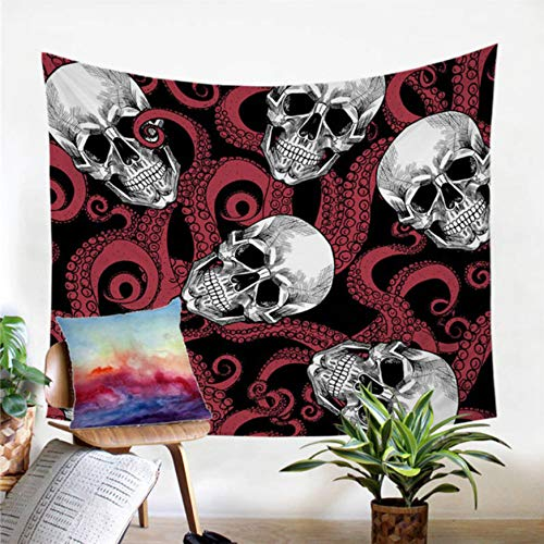 BOBSUY Octopus und Skull Tapestry Tentacles Hand Wall Carpet Gothic Wand hängen Blue Red Bedspread Home Living Room Zimmer Innendekoration Rotes Muster (Wand Carpet Red)