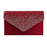 Clorislove Ladies Rhinestone Frosted Envelope Clutch Evening Bridal Handbag Purse (Burgundy Red)