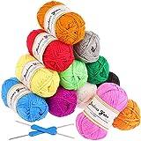 Fuyit Pelotes de Laine en Acrylique 600g (12x50g) avec 2 crochet gratuit 12 couleurs Acrylique pour Tricot Idéal pour Tout Projet de Tricot et de Crochet...