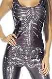 Damen Skelett Overall Outfit Verkleidung Fasching Karneval Skelett-Print