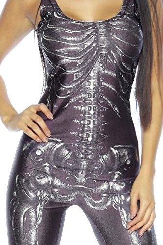 Damen Skelett Overall Outfit Verkleidung Fasching Karneval Skelett-Print -