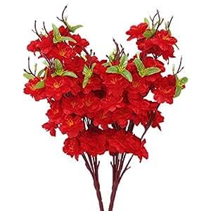 DAYAN Artificiale Primavera Pesco Filiale Fiore Spruzzo Di Albero Di Fiori Di Seta colore Rosso