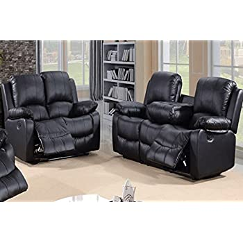 Wagner 2 Seater Sofa Bonded Leather Black