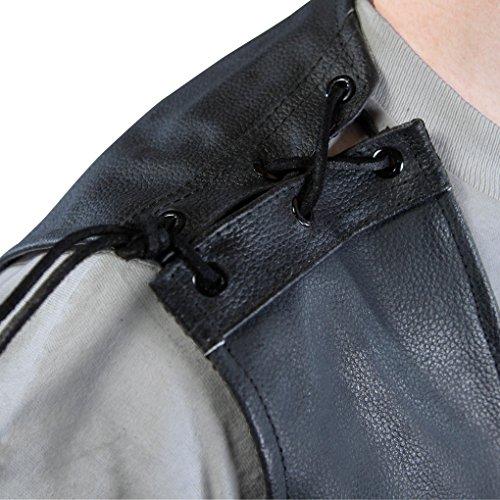 Lemoko Herren Motorrad Lederweste Motorradweste Bikerweste mit Schnürung schwarz Gr. S-3XL Schwarz