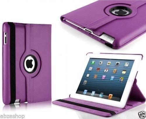 Nv 360 Degree Rotating Leather Case Cover Stand For iPad 4, iPad 3, iPad 2 (Purple)