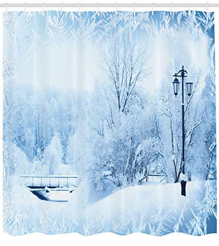 chvorhang, Wunderland Weihnachtsfeiertag, mit 12 Ringe Set Wasserdicht Stielvoll Modern Farbfest und Schimmel Resistent, 175x200 cm, Weiß Blau ()