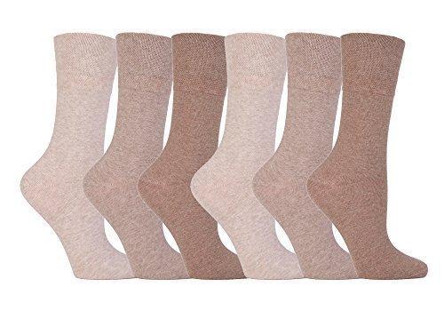 Gentle Grip - Ladies Diabetic Sock with Honey Comb Top and Hand linked Toe Seams - 4-8 UK 37-42 Eur (Beiges)