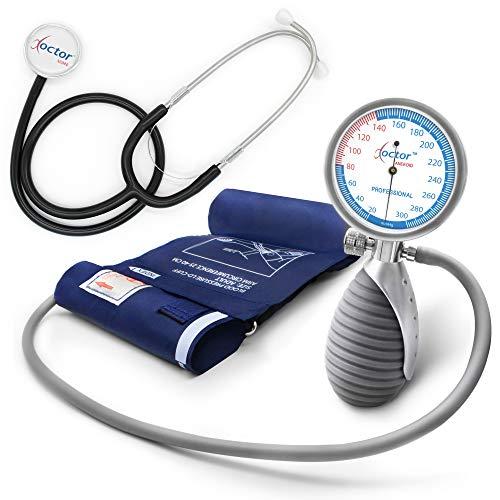 AIESI® Esfigmomanometro Tensiómetro Manual Profesional Aneroide palmar para adultos y estetoscopio...