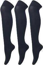 Krystle Girl's 3 Pair Cotton Knee High Socks (Black)