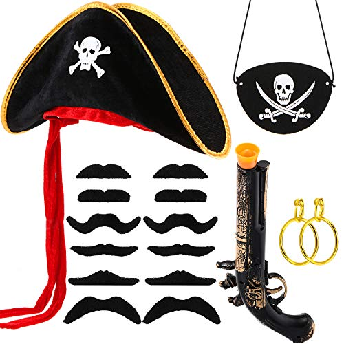 Pirat Kostüm Ohrringe - Kostüm Piraten Set 17 Stücke Piraten Kapitän Kostüm Sets, Piraten Hut, Piraten Kapitän Kostüm Sets aus Filz, Piraten Gewehr, Piraten Gold Ohrringe, Piraten Kunst Schnurrbart