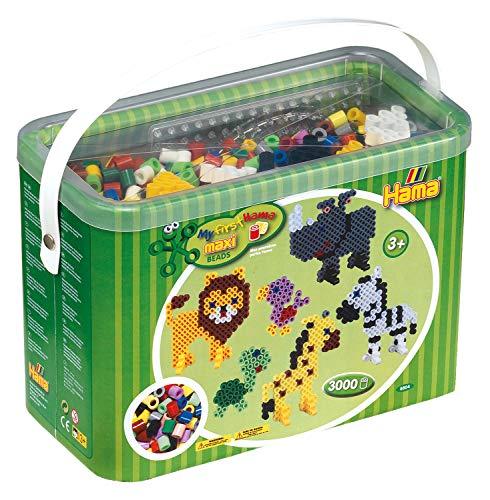 Hama 8804 Bügelperlen Maxi, ca. 3000 Stück im Eimer, inklusive Stiftplatten Quadrat, Kreis und Stern sowie Zubehör, Mehrfarbig - Ca 3000