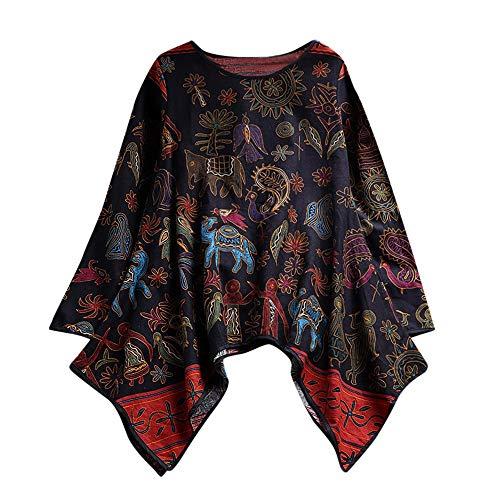 Bedruckte Oberteile Damen Elegant Große Größen Langarm Leinen Bluse Rundhals Unregelmäßiger Saum Langarmshirts Freizeit Locker T-Shirt Tops Tunika (XL, Schwarz) (Oberteil Plus Größe Kostüm)