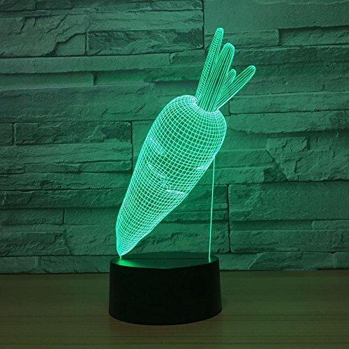 Schöne kaninchen karotten acryl 3d nachtlicht led 7 farben ändern usb kreative schreibtischlampe schlafzimmer lichter wohnkultur kinder geschenk