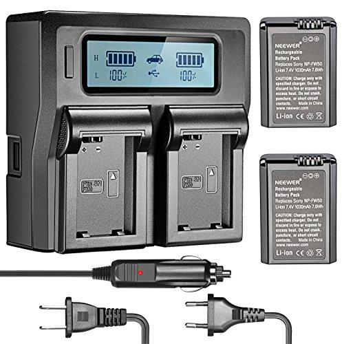 Neewer Caricabatterie Doppio con Display LED & 2 Batterie 1030mAh Ricambio di Sony FW50 per Fotocamere Digitali di Serie Sony Alpha/NEX