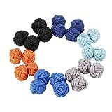 Jstyle 6 Pairs Silk Knot Cufflinks for Men Women Shirt...