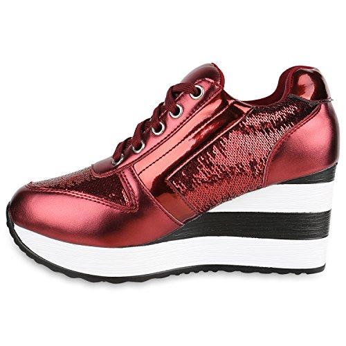 Damen Sneakers | Sportschuhe Lack Glitzer | Sneaker Wedges Metallic Pailetten | Plateauschuhe Kroko Camouflage | Keilabsatz Schuhe Rot Metallic Lack