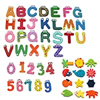 Simuer Wooden Fridge Magnet Letters A-Z Alphabet Animals Numbers Magnetic Letters Words Funny Cartoon Refrigerator Sticker Learning Education Toys 48Pcs/Set