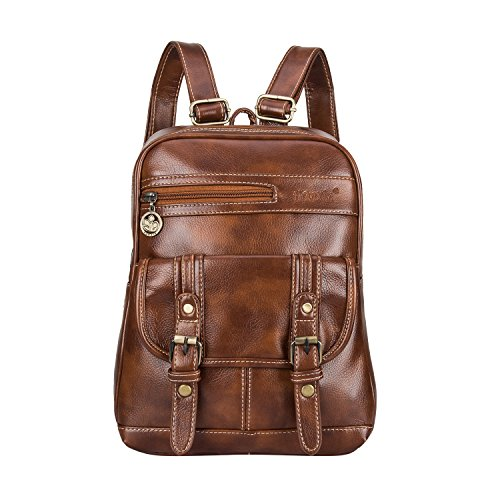SNUG STAR Soft PU Leather Backpack Vintage School Bag Travel Purse Satchel for Women and Girls(Brown)