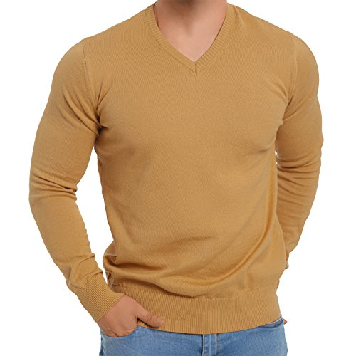 celodoro Exclusive Men's V-Neck Sweater - Oak Buff L