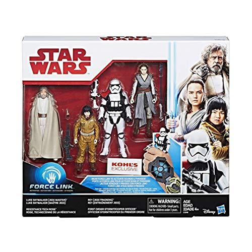 Star Wars : Die letzten Jedi - Force Link - Sammelfiguren-Pack mit Luke Skywalker, Rose, Rey und First Order Stormtrooper Officer