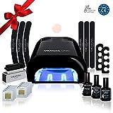 Lampara LED UV Secador de Uñas Esmalte Semipermanente Pintauñas Decoración de Uñas Kit Manicura y Pedicura Nail Factory Edition Basic Black