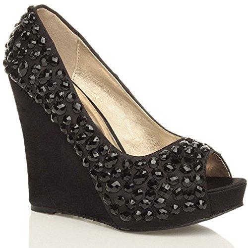 Donna gemme tacco alto zeppa sandali plateau scarpe punta aperta taglia 3 36