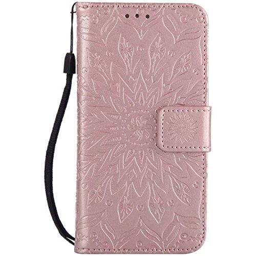 iPhone 6S Ledertasche, iPhone 6 Wallet Case, Lifetrut [Geprägte Sonnenblume] Design Flip Folio Leder Geldbörse Hülle Deckung für iPhone 6S 6 [Rosengold] E208-Rosengold