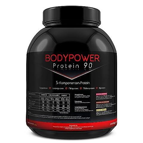 Body Power Protein 90 2kg Dose 5K Mehrkomponenten Eiweiß 2000g (Erdbeere)