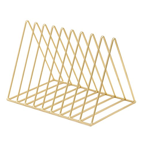 LVPY Metall Katalogsammler Prospekthalter Zeitschriftenständer Zeitungsständer Bücherregal mit 9 Fächern, 26×17,8×18,5 cm(Golden)