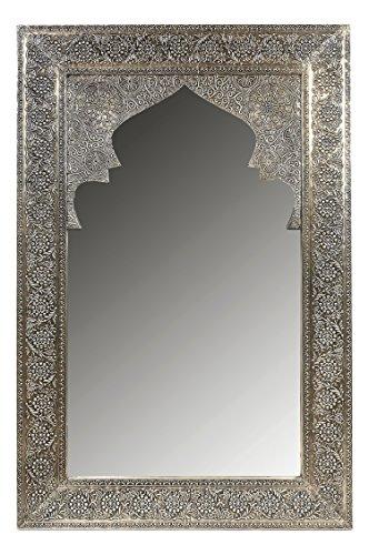 Orient Spiegel Wandspiegel Talah 90cm groß Silber | Großer Marokkanischer Flurspiegel mit Holzrahmen orientalisch verziert | Orientalischer Vintage Badspiegel ohne Beleuchtung als Orientalische Deko